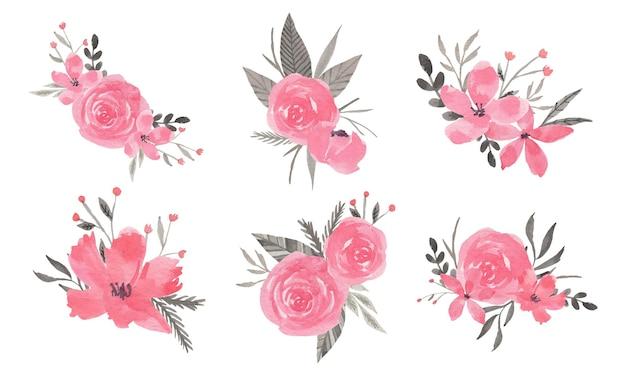 Clipart dell'acquerello di disposizione dei fiori rosa e grigio