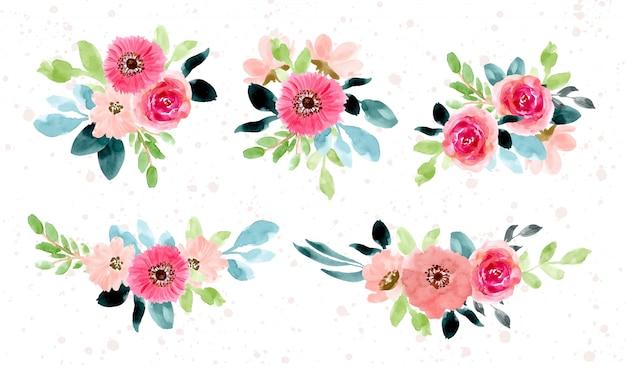 Raccolta dell'acquerello di disposizione del fiore verde rosa