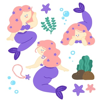 Sirena dai capelli rosa con coda viola pastello ed elementi carini sott'acqua