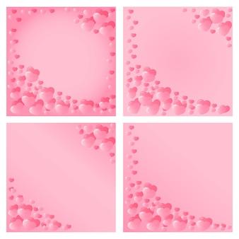 Design di cuori rosa per san valentino. invito per feste, matrimoni, annunci per bambini. un modello per volantino, buono, banner, carta sconto, carta da regalo.