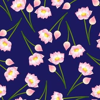 Loto indiano rosa su fondo blu navy