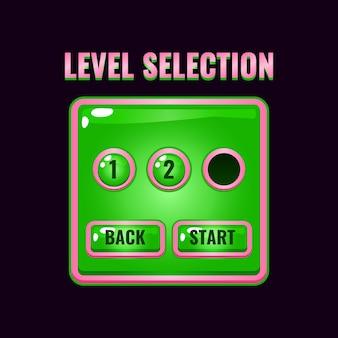 Interfaccia di selezione del livello dell'interfaccia utente del gioco di gelatina rosa per giochi 2d