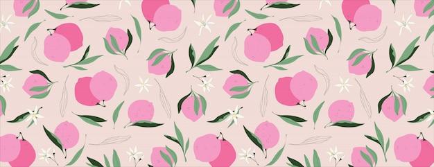 Motivo al limone rosa. illustrazione disegnata a mano vibrante. frutti rosa, foglie e fiori.