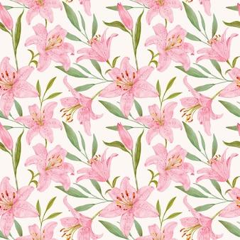 Giglio rosa con foglie seamless pattern