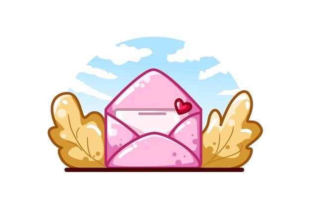 Lettera d'amore rosa con foglie d'autunno