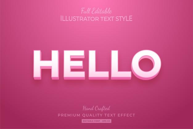 Effetto di stile di testo modificabile moderno rosa premium