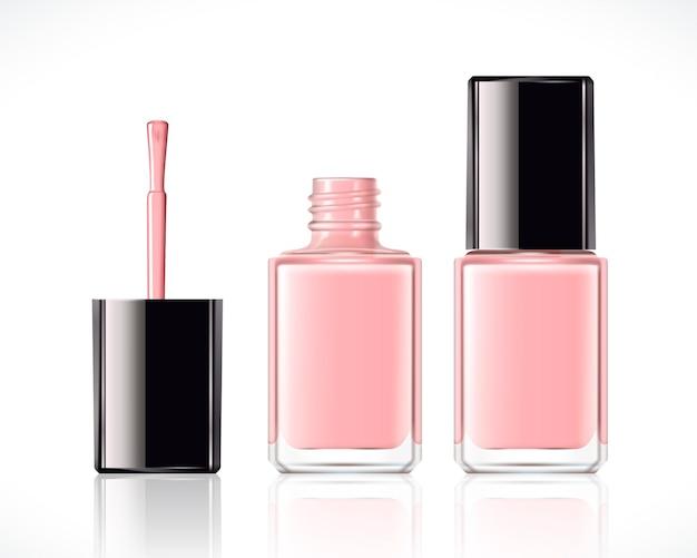 Smalto per unghie rosa impostato nell'illustrazione 3d su bianco