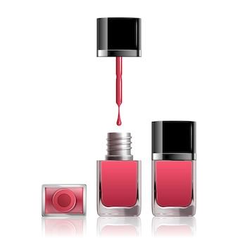 Smalto per unghie rosa con liquido gocciolante su bianco, illustrazione 3d