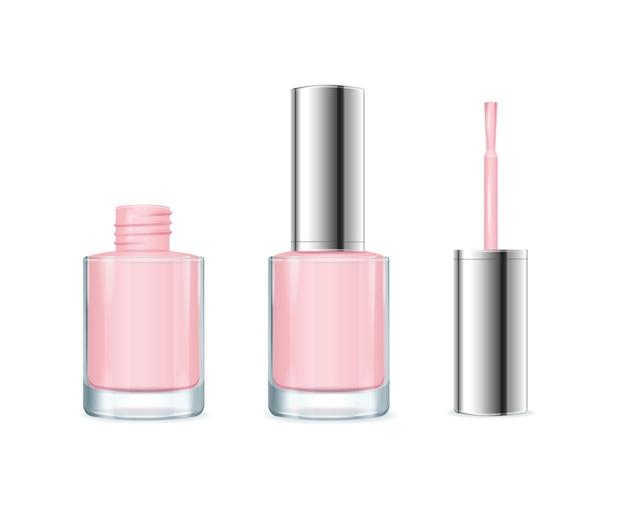 Smalto per unghie rosa. bottiglia aperta e chiusa.