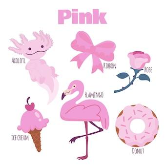 Confezione di oggetti rosa e parole del vocabolario