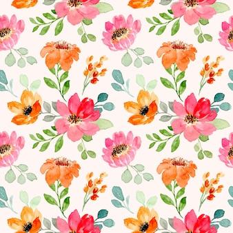 Reticolo senza giunte dell'acquerello floreale rosa arancione