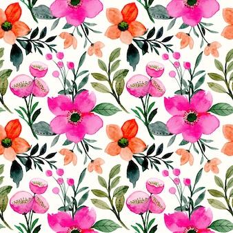 Reticolo senza giunte dell'acquerello rosa fiore arancione