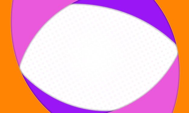 Forma curva arancione e viola rosa in sfondo stile carta. illustrazione vettoriale.