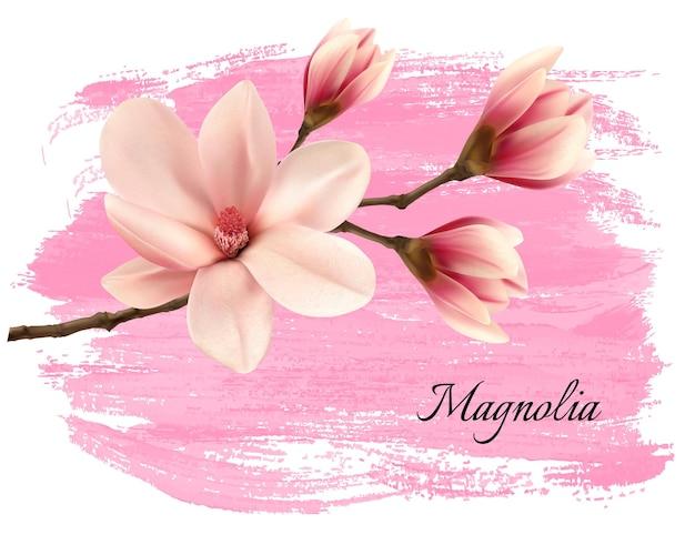 Insegna del ramo della magnolia della vernice rosa. vettore.