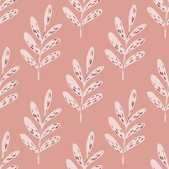Modello floreale senza cuciture di tavolozza rosa con rami di foglie.