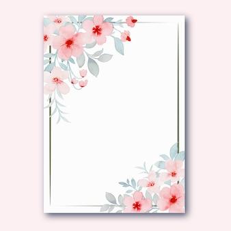 Cornice di fiori rosa pastello con acquerello