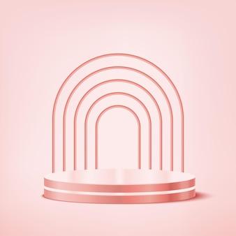 Il podio di visualizzazione del prodotto pastello rosa è perfetto per il tuo prodotto, questo sfondo è di nuovo modificabile