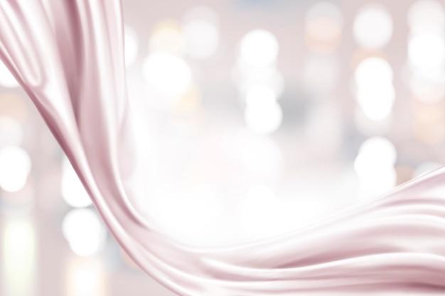 Raso rosa perla, tessuto liscio su sfondo bokeh scintillante nell'illustrazione 3d