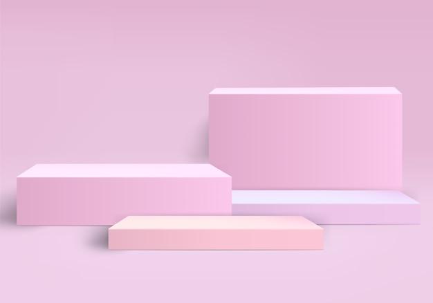 Fondo astratto del piedistallo rosa per l'immissione del prodotto