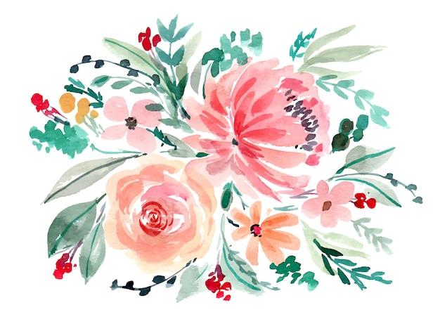 Bouquet floreale dell'acquerello di peonie rosa