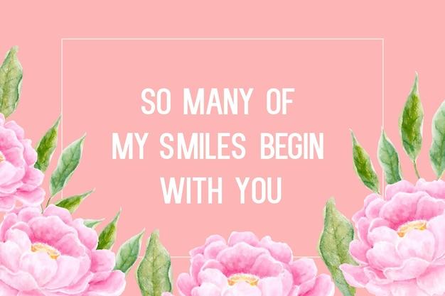 Disegno del fiore dell'acquerello di peonie rosa per biglietto di auguri digitale