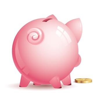 Salvadanaio rosa con moneta d'oro