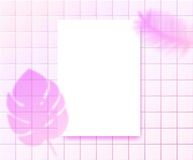 Sovrapposizione di ombre di piante rosa su foglio di carta verticale a4 layout di presentazione per citazioni logo branding