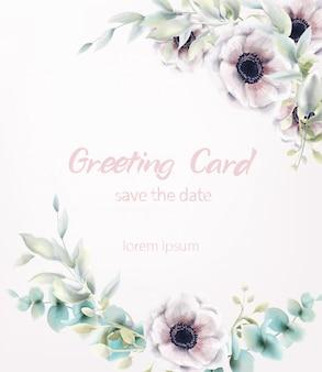 Acquerello rosa del mazzo dei fiori del papavero. decorazioni delicate di foglie blu. poster boho rustico provenzale