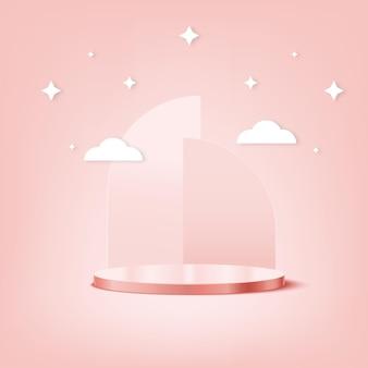 Il podio di visualizzazione del prodotto rosa è perfetto per il tuo prodotto, questo sfondo è di nuovo modificabile