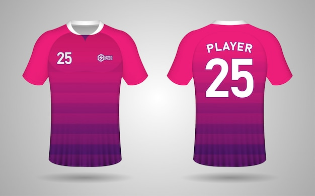 Modello di progettazione kit calcio colore rosa e viola