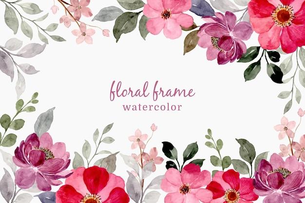 Cornice floreale viola rosa con acquerello
