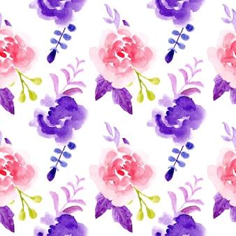 Modello senza cuciture acquerello floreale viola rosa
