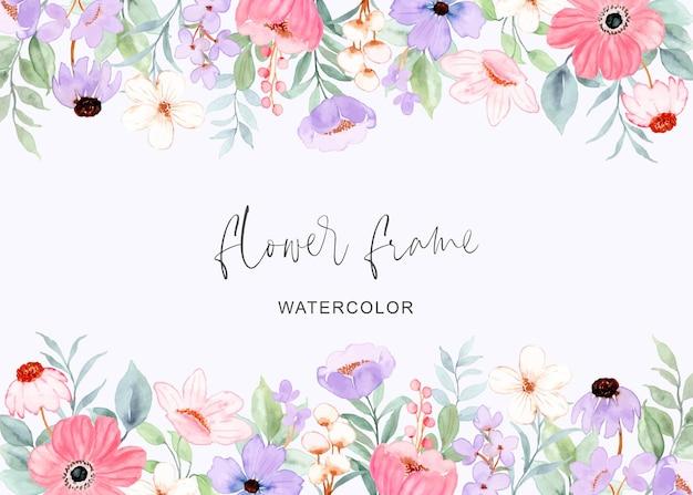 Sfondo cornice fiore viola rosa con acquerello