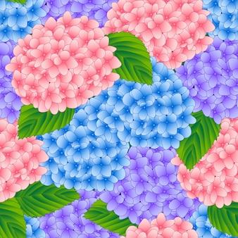 Fondo senza cuciture del fiore rosa e porpora dell'ortensia