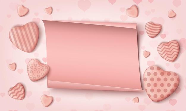 Cuori di caramelle rosa realistici e papper realistico.