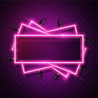Banner al neon rettangolo rosa