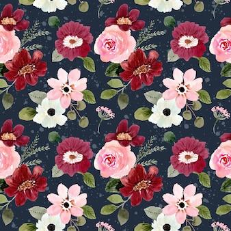 Modello senza cuciture dell'acquerello floreale rosa-rosso