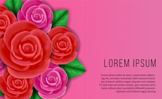 Bouquet di rose rosa e rosso per biglietto di auguri