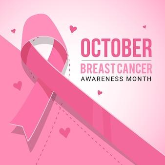 Nastro rosa per il mese di consapevolezza del cancro al seno illustrato