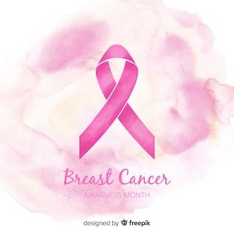 Nastro rosa di consapevolezza del cancro al seno in stile acquerello Vettore Premium