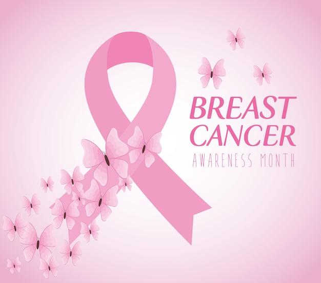 Nastro rosa, simbolo del mese mondiale della consapevolezza del cancro al seno con decorazioni di farfalle