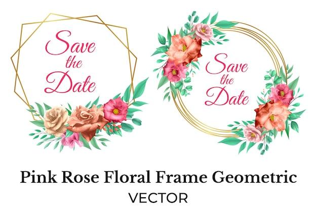 Decorazione cornice floreale rosa rosa con geometrica oro gold