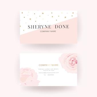 Modello di biglietto da visita di lusso rosa rosa Vettore Premium