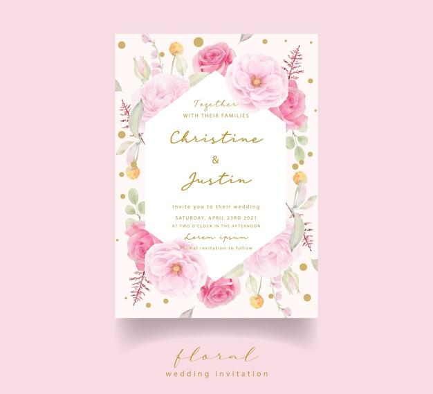 Invito a nozze acquerello rosa rosa