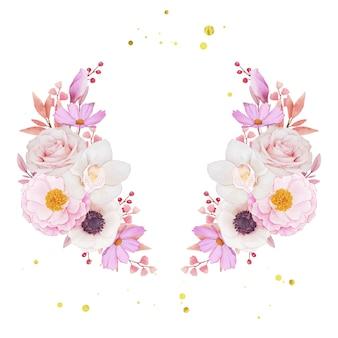Ghirlanda di fiori di orchidea e anemoni di rose rosa