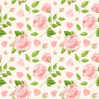 Modello senza cuciture di rose rosa boccioli di fiori e petali di rosa Vettore Premium