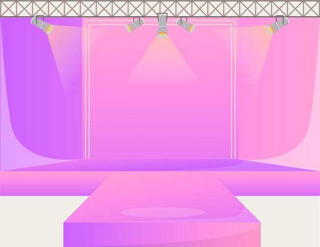 Illustrazione di colore piana della piattaforma rosa della pista. palco vuoto sul podio. passerella con faretti. area dimostrativa della settimana della moda. presentazione della nuova collezione. sfilate di moda di fondo