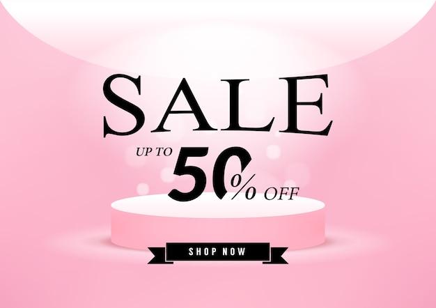 Disegno del modello di banner di vendita rosa