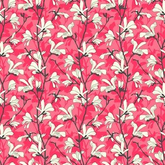 Modello senza cuciture rosa con fiore di albero di magnolia. disegno floreale primaverile
