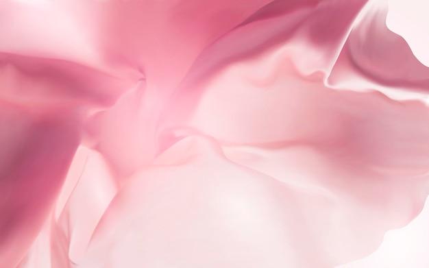 Sfondo in tessuto di seta rosa, trama liscia e fluttuante
